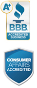 BBB A+ Rating and Consumer Affairs approved.